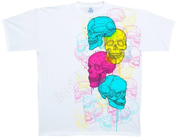 Купить Liquid Blue Футболка Cranium Collage - Коллаж из разноцветных черепов