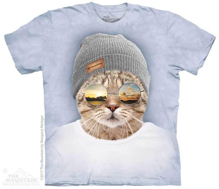 Купить The Mountain Футболка Cool Hipster Cat - Крутой кот-хипстер