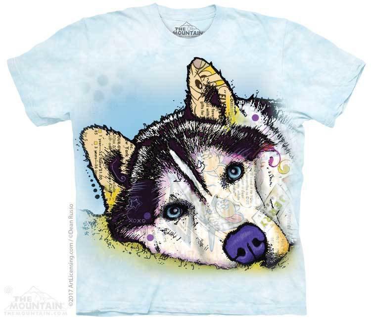 Купить The Mountain Футболка Siberian Husky Blue - Сибирский хаски (Д. Руссо)