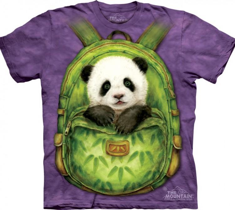 Купить The Mountain Футболка Backpack Panda - Панда в рюкзаке