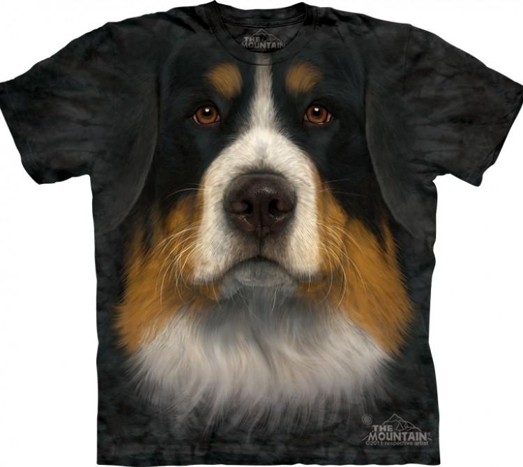 Купить The Mountain Футболка Bernese Mountain Dog Face - Морда Бернского зенненхунда