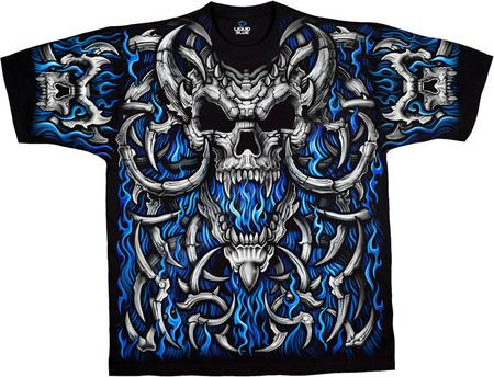 Купить Liquid Blue Футболка Blue Flame Skulls (двухсторонняя)