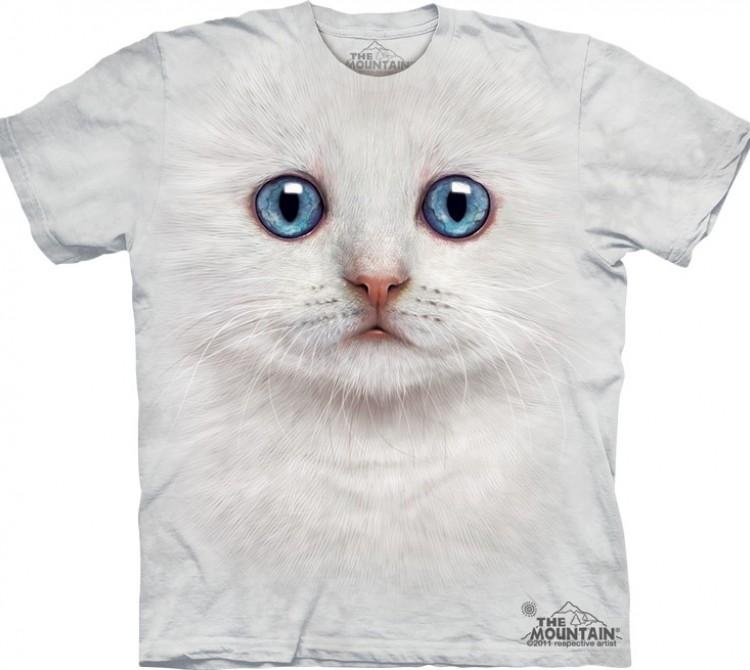 Купить The Mountain Футболка Ivory Kitten Face - Мордочка белого котенка с голубыми глазами