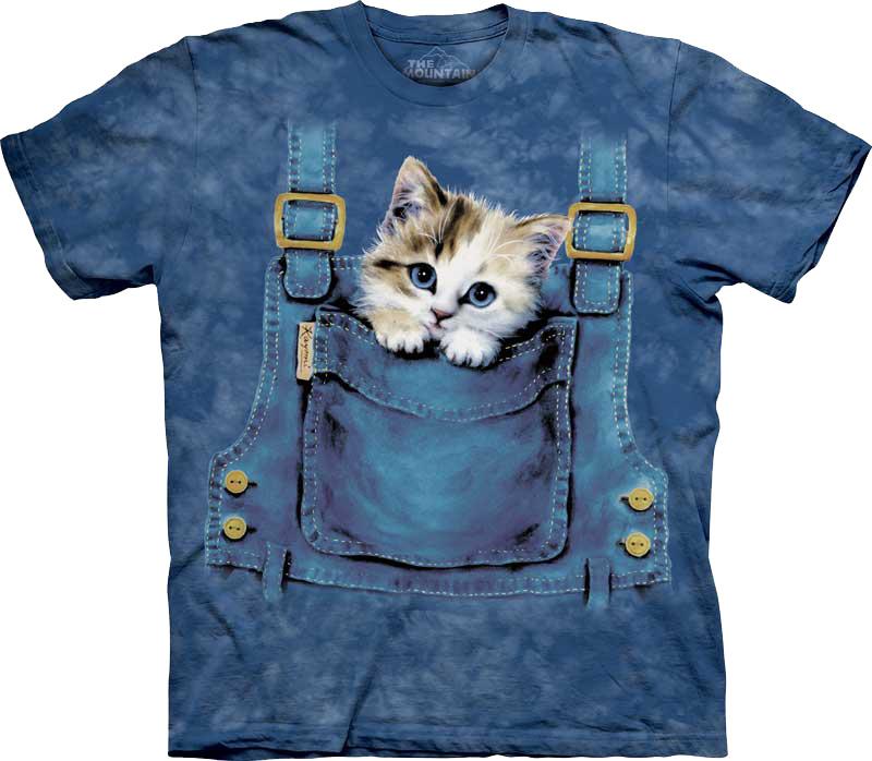 Купить The Mountain Футболка Kitty Overalls - Котенок в кармане комбинезона