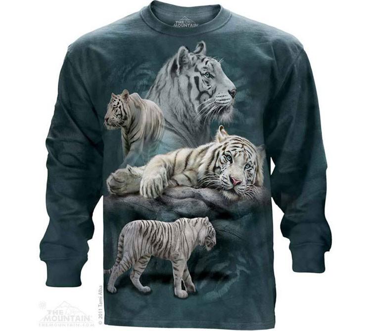 Купить The Mountain Футболка White Tiger Collage - Белые тигры (длинный рукав)