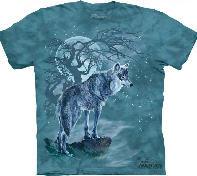 Купить The Mountain Футболка Wolf Tree Silhouette - Волк на фоне силуэта дерева