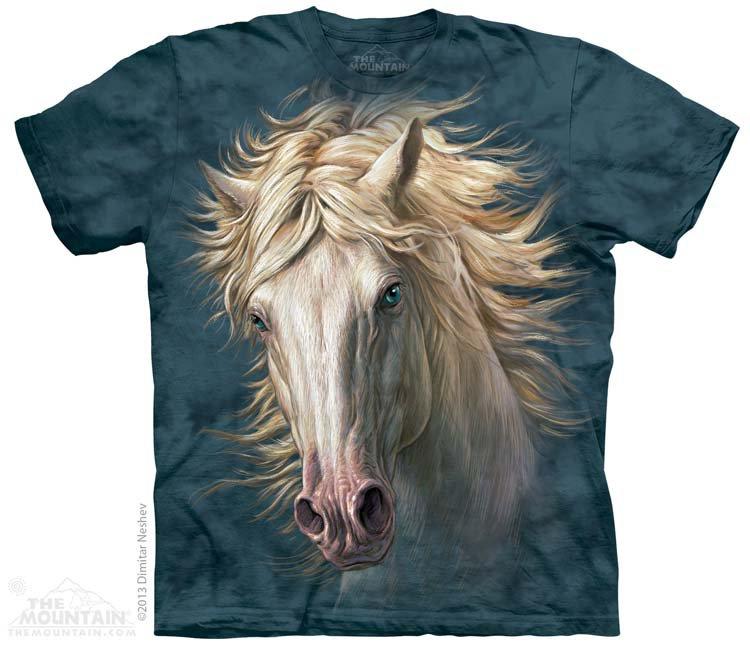 Купить The Mountain Детская футболка White Horse Portrait - Портрет белой лошади