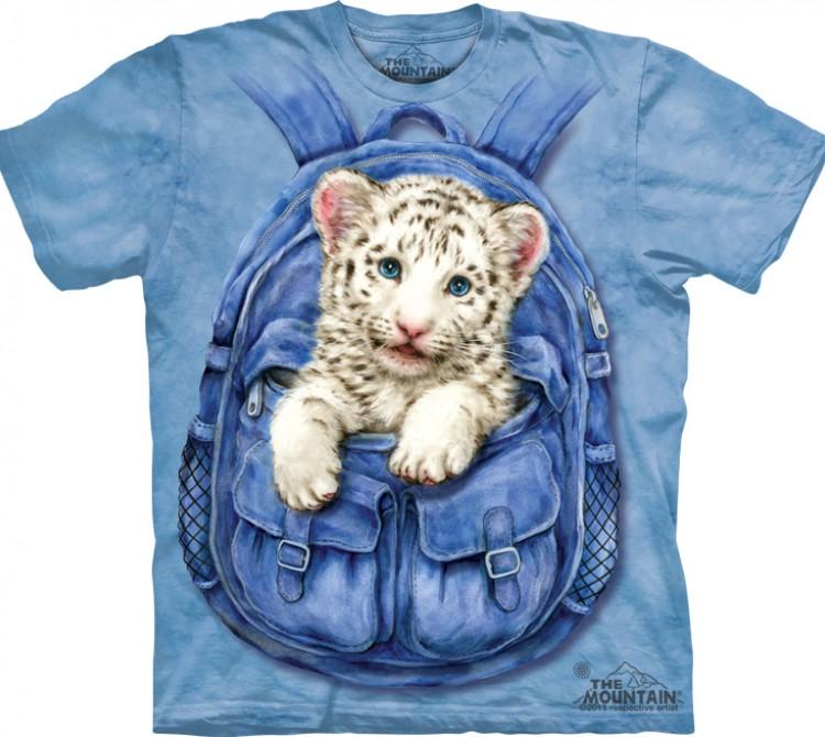 Купить The Mountain Футболка Backpack White Tiger - Тигренок в рюкзаке
