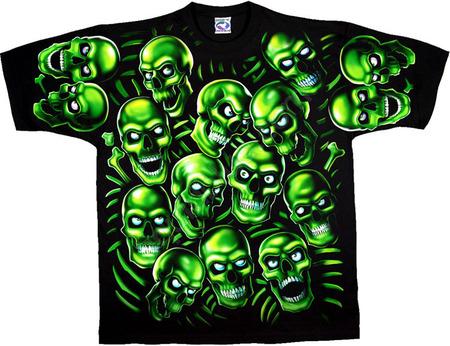 Купить Liquid Blue Футболка Skull Pile Green - Зеленые черепа (двухсторонняя, светится в темноте)