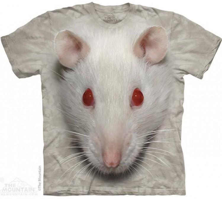 Купить The Mountain Футболка Big Face White Rat - Белая Крыса - символ года 2020!