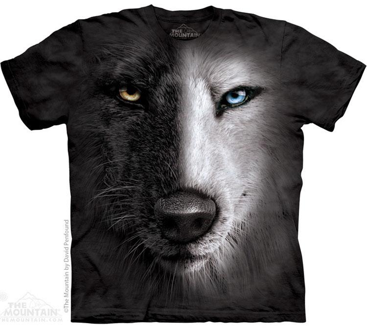 Купить The Mountain Футболка Black And White Wolf Face - Морда Черно-белого волка