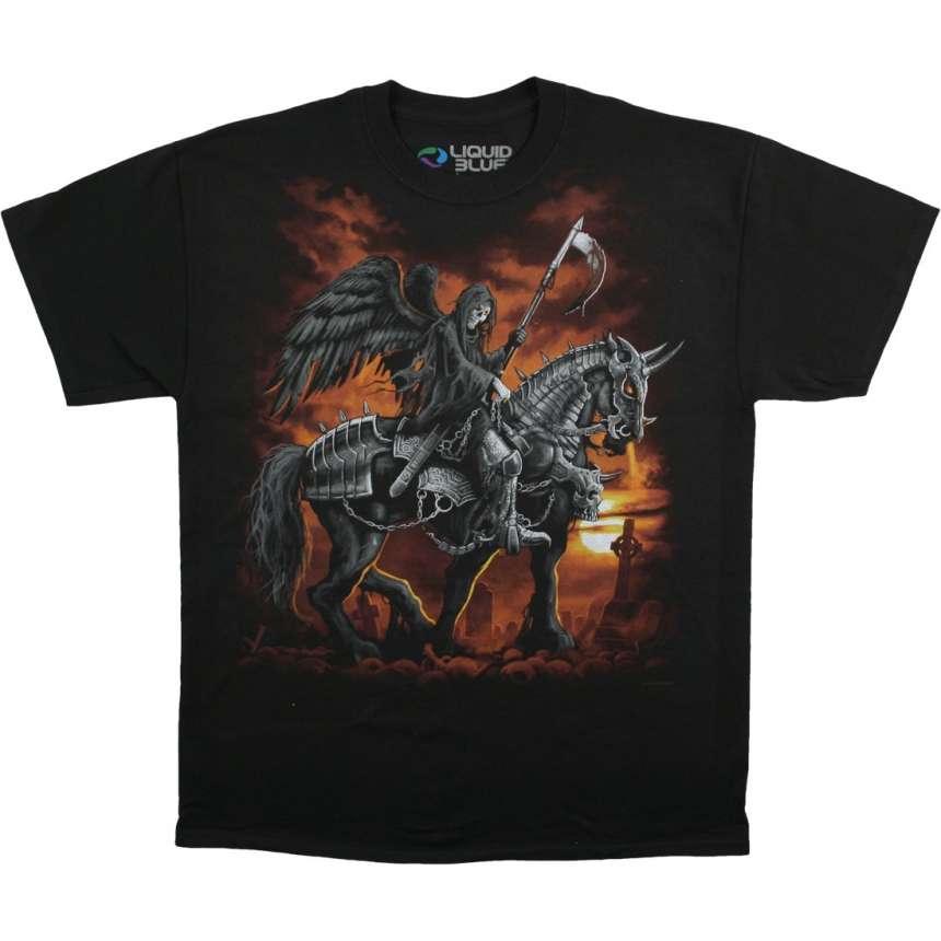 Купить Liquid Blue Футболка Reaper Horse - Смерть на лошади