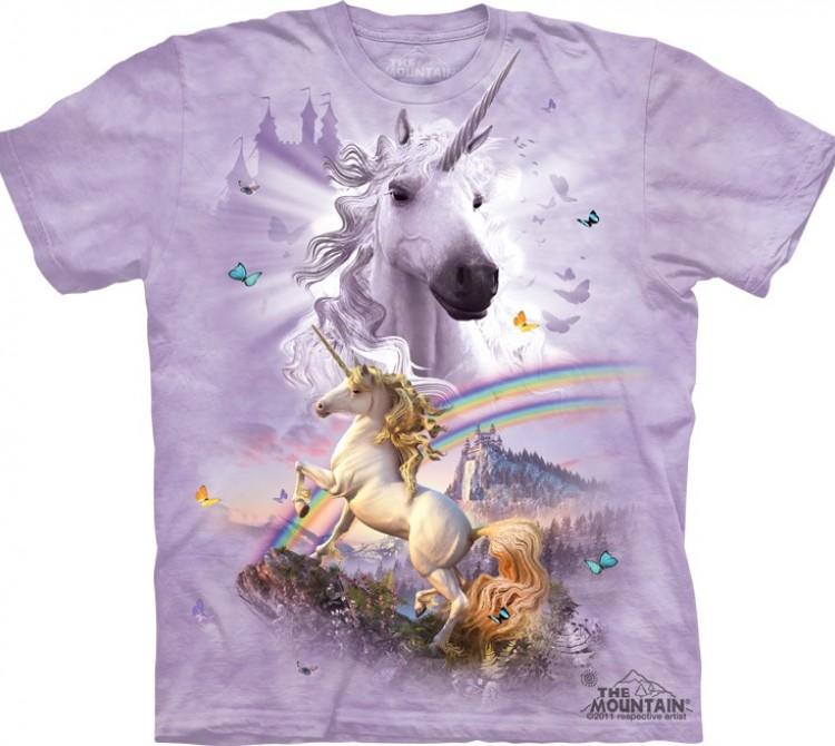Купить The Mountain Футболка Double Rainbow Unicorn - Единорог с двойной радугой