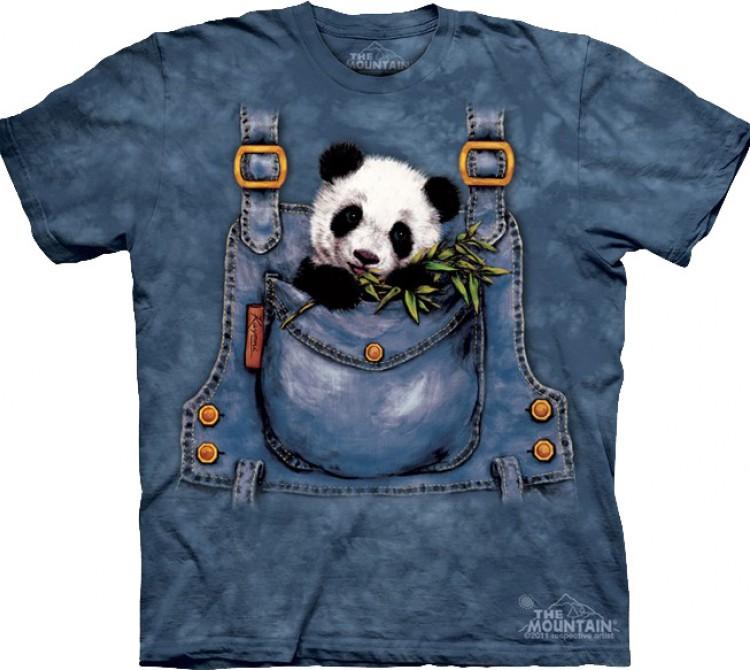 Купить The Mountain Футболка Panda in Overalls - Панда в нагрудном кармане