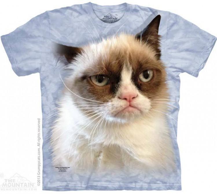 Купить The Mountain Футболка Grumpy in Blue - Грустная морда Сварливого Кота