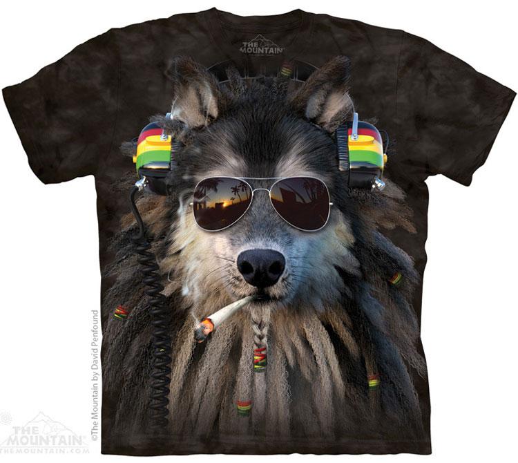 Купить The Mountain Футболка Smoking Rasta Wolf - Раста Волк